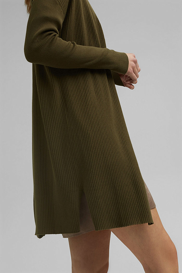 Rib knit cardigan made of 100% organic cotton, KHAKI GREEN, detail image number 2