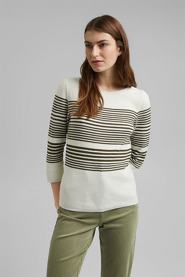 Textured jumper containing organic cotton, OFF WHITE, detail image number 0