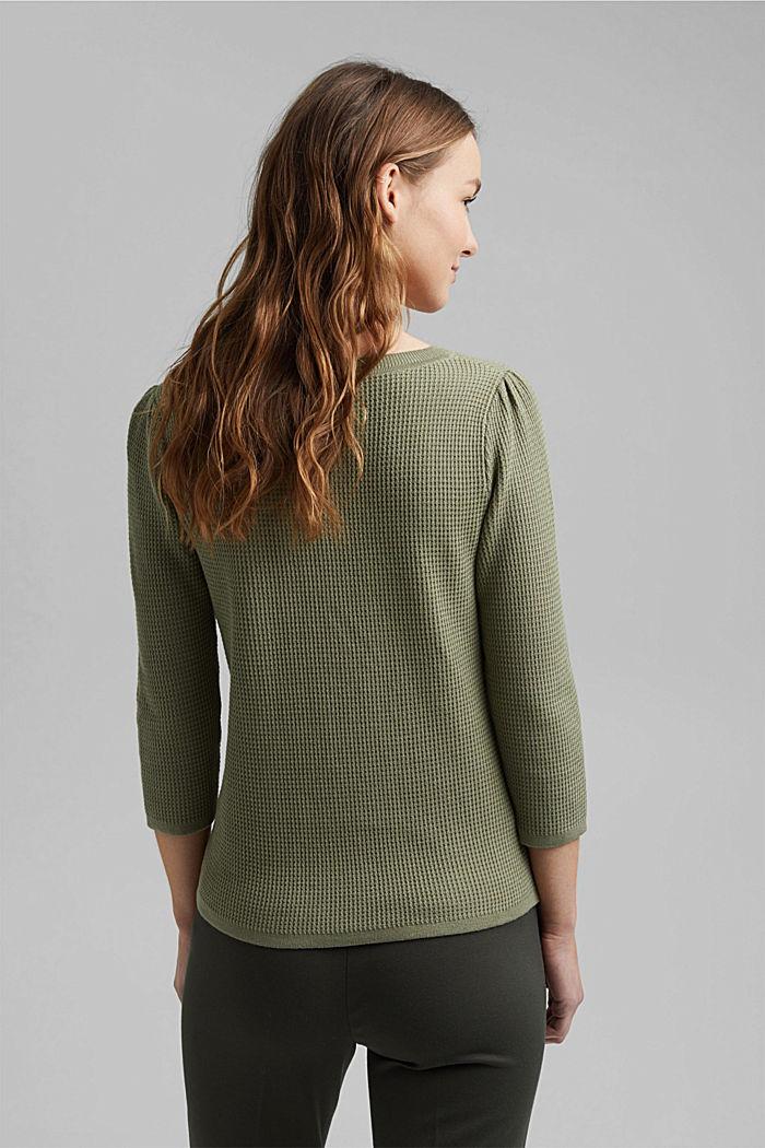 Textured jumper containing organic cotton, LIGHT KHAKI, detail image number 3