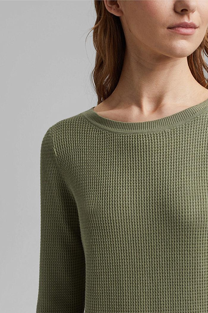 Textured jumper containing organic cotton, LIGHT KHAKI, detail image number 2