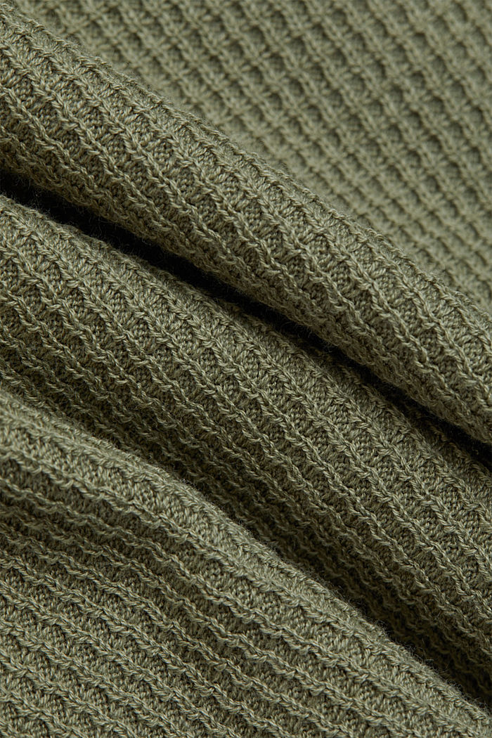 Struktur-Pullover mit Organic Cotton, LIGHT KHAKI, detail image number 4