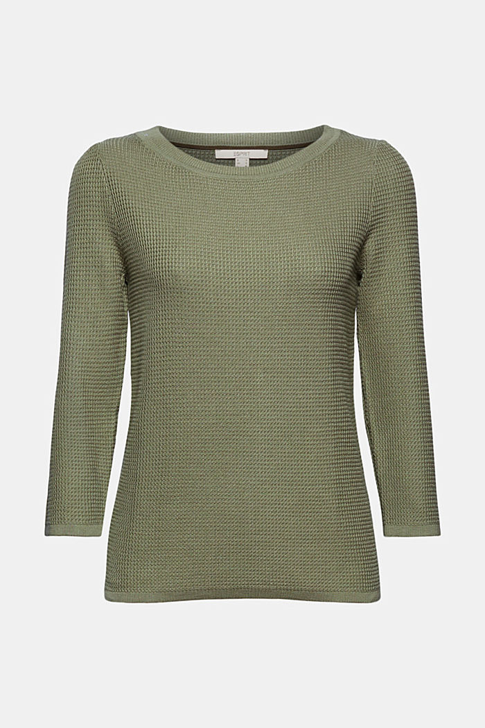 Struktur-Pullover mit Organic Cotton, LIGHT KHAKI, detail image number 6