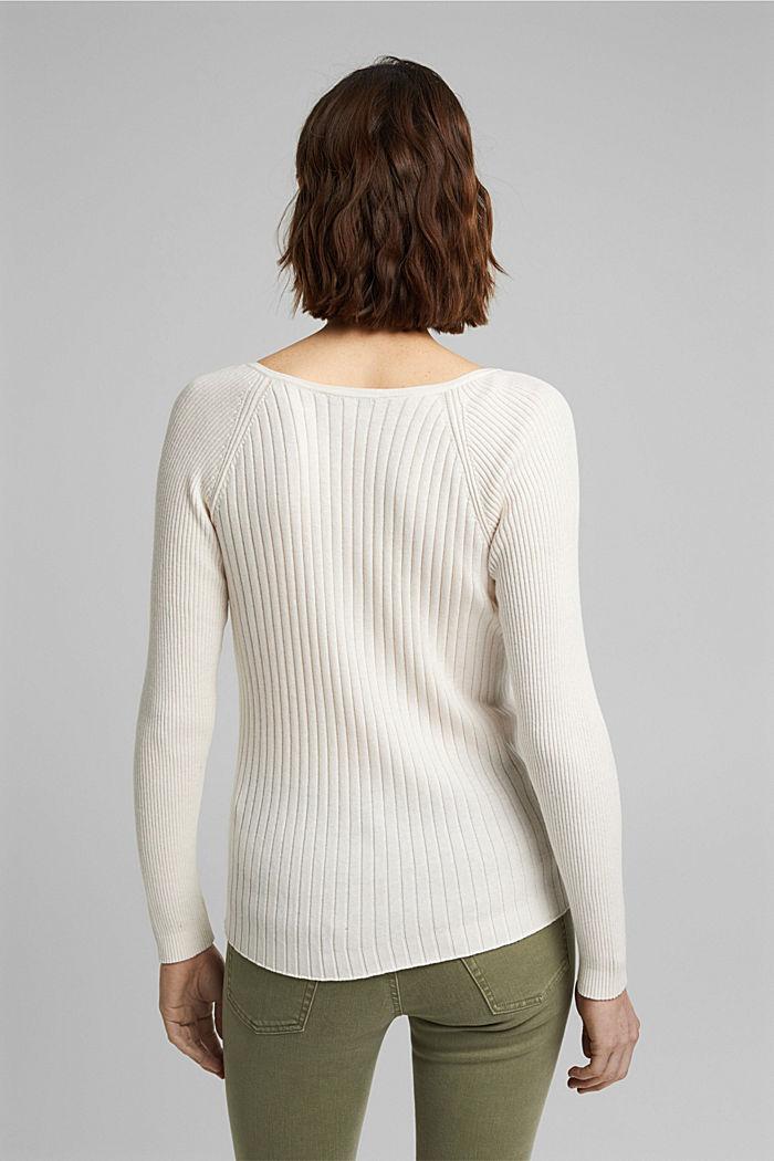 Mit Seide: Ripp-Pullover mit V-Ausschnitt, OFF WHITE, detail image number 3