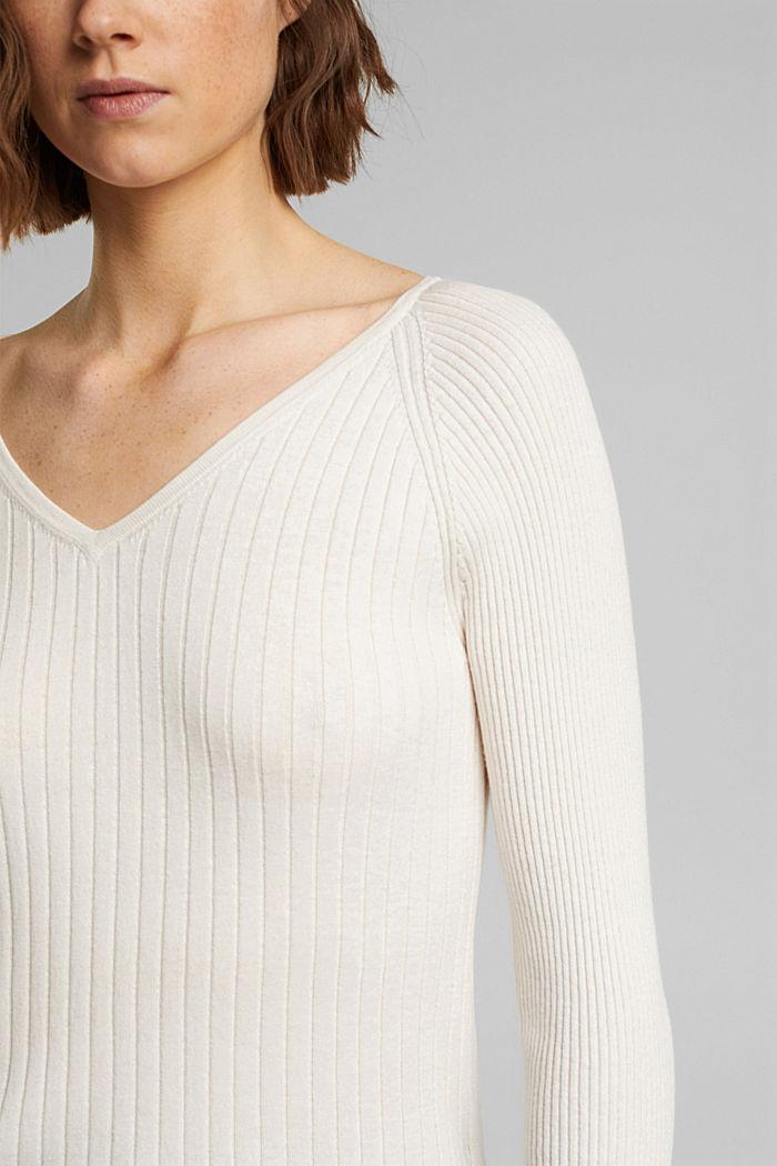 Mit Seide: Ripp-Pullover mit V-Ausschnitt, OFF WHITE, detail image number 2