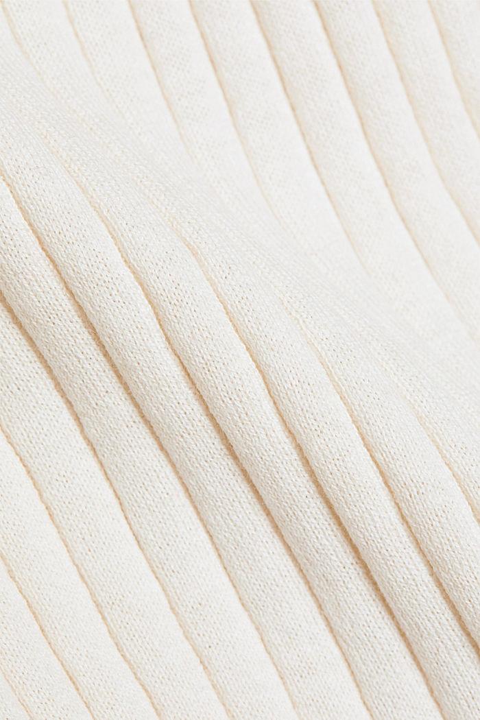 Mit Seide: Ripp-Pullover mit V-Ausschnitt, OFF WHITE, detail image number 4