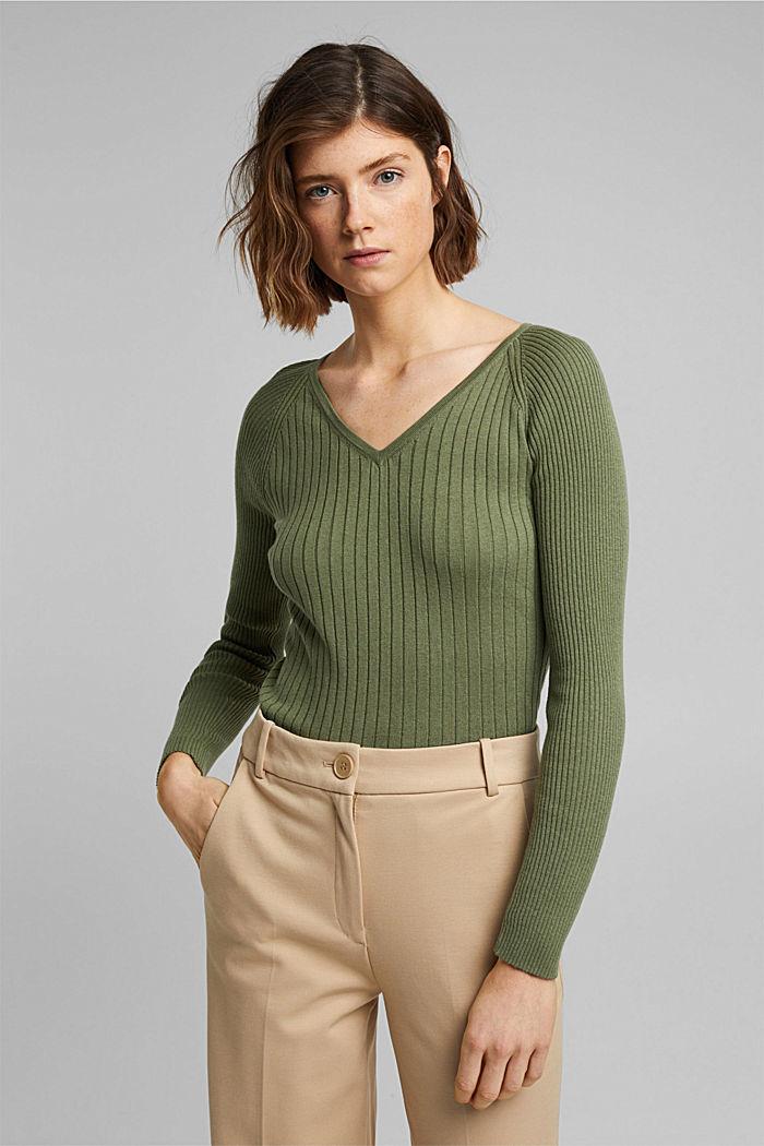 Mit Seide: Ripp-Pullover mit V-Ausschnitt, LIGHT KHAKI, detail image number 0