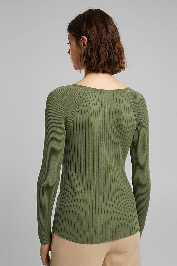 Mit Seide: Ripp-Pullover mit V-Ausschnitt, LIGHT KHAKI, detail image number 3