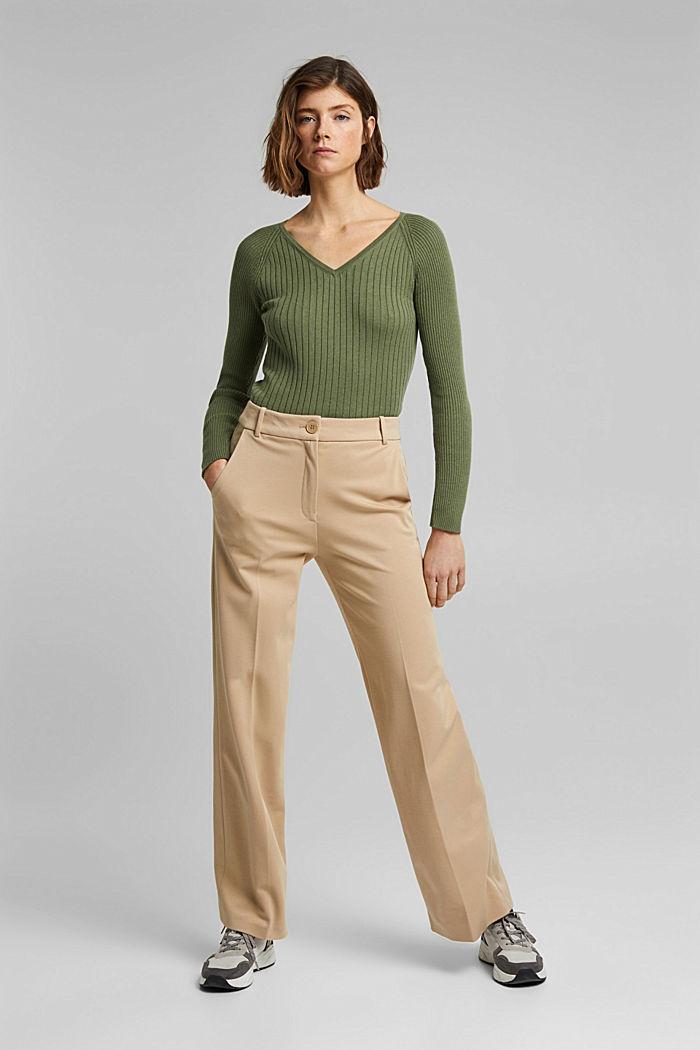 Mit Seide: Ripp-Pullover mit V-Ausschnitt, LIGHT KHAKI, detail image number 6