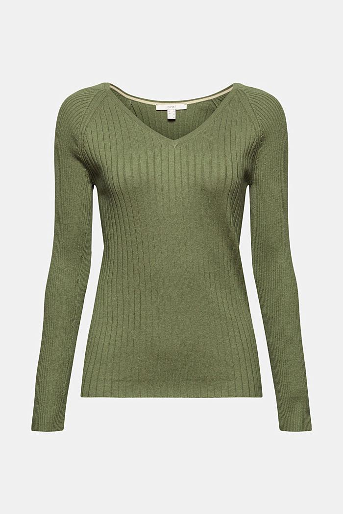 Mit Seide: Ripp-Pullover mit V-Ausschnitt, LIGHT KHAKI, detail image number 7