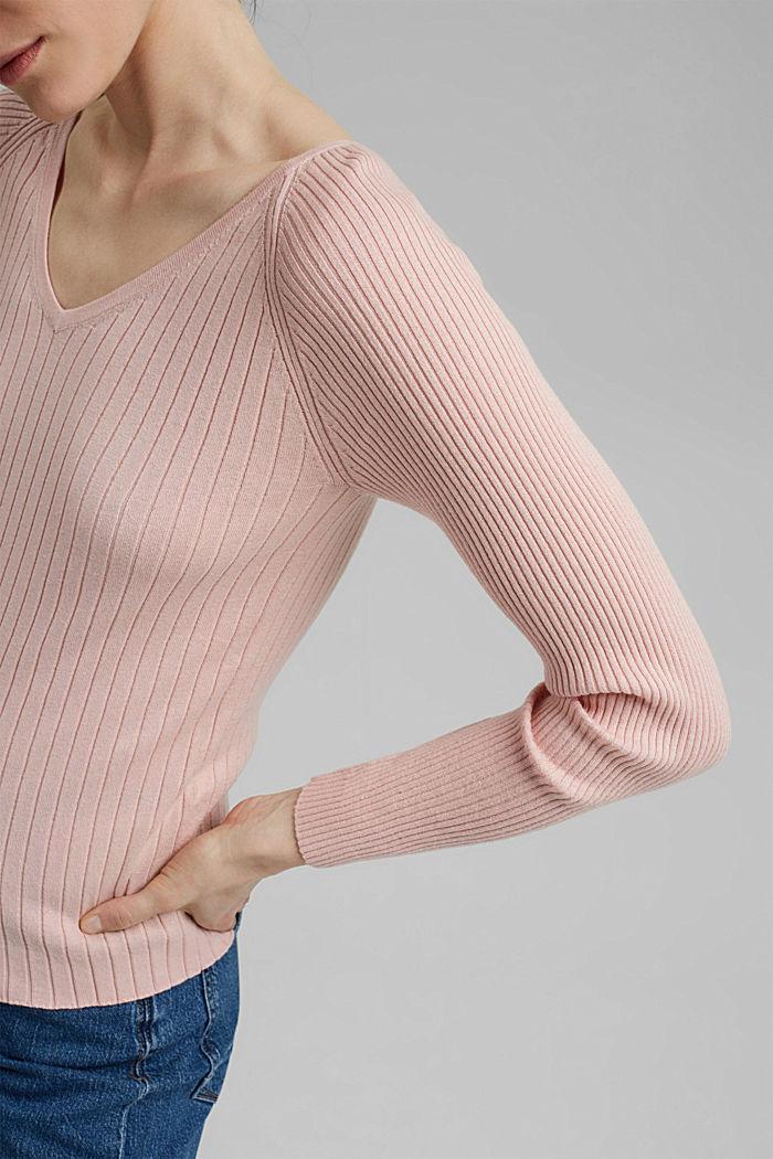 Silk blend: Ribbed jumper with a V-neckline, NUDE, detail image number 2