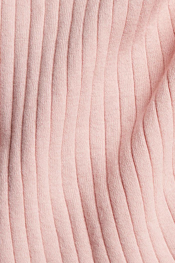 Silk blend: Ribbed jumper with a V-neckline, NUDE, detail image number 4