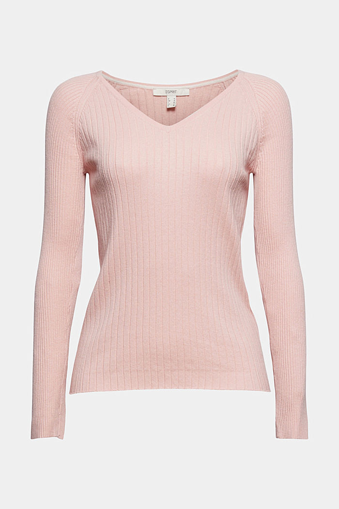 Silk blend: Ribbed jumper with a V-neckline
