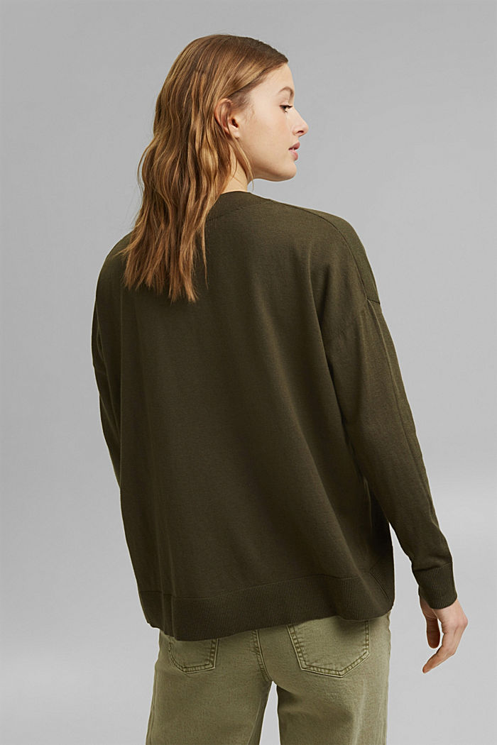 Silk blend: V-neck jumper, KHAKI GREEN, detail image number 3
