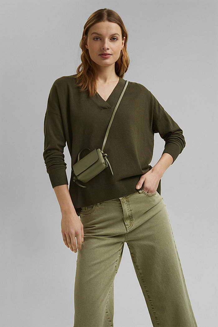 Silk blend: V-neck jumper, KHAKI GREEN, detail image number 5