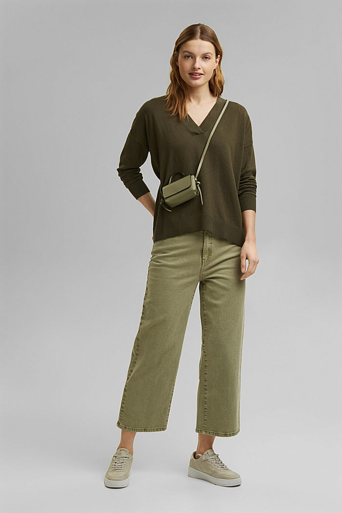 Silk blend: V-neck jumper, KHAKI GREEN, detail image number 1