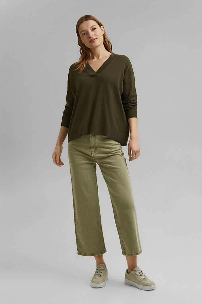 Silk blend: V-neck jumper, KHAKI GREEN, detail image number 6