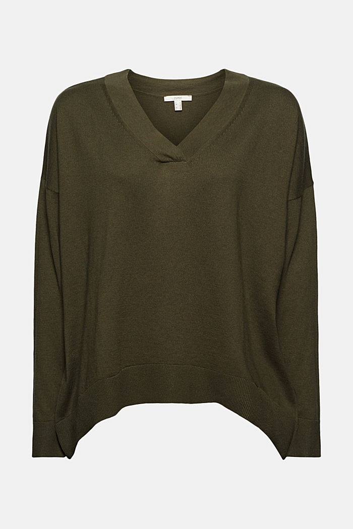Silk blend: V-neck jumper, KHAKI GREEN, detail image number 7