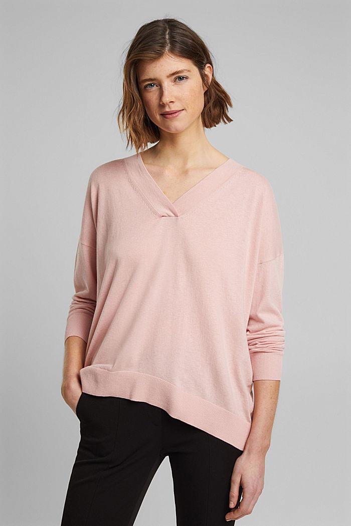 Silk blend: V-neck jumper, NUDE, detail image number 0
