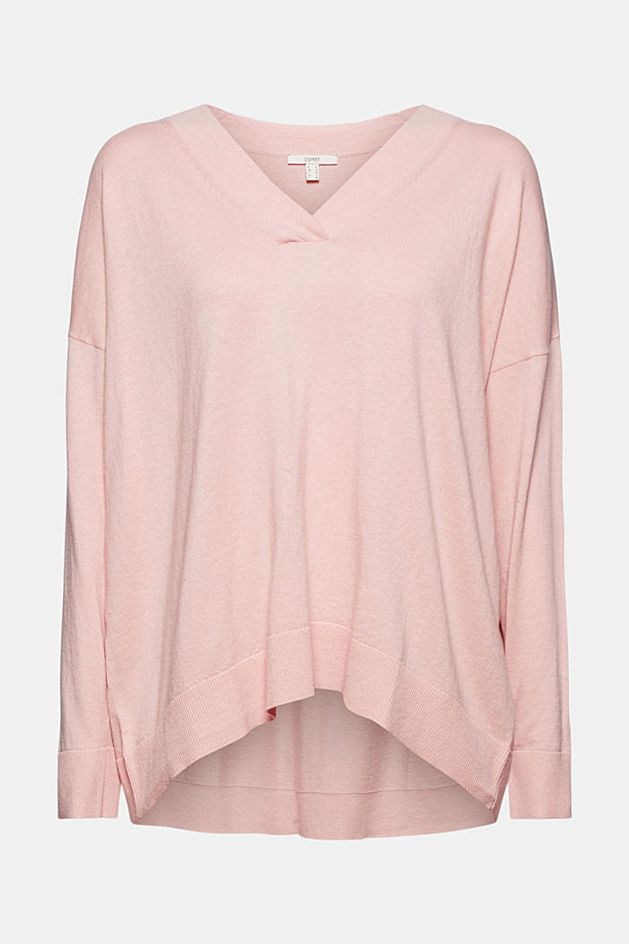 Silk blend: V-neck jumper, NUDE, detail image number 5