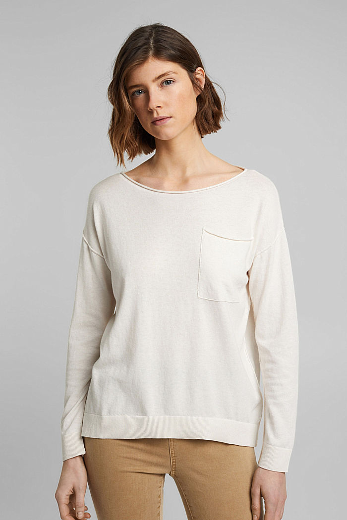 Silk blend: jumper with a breast pocket