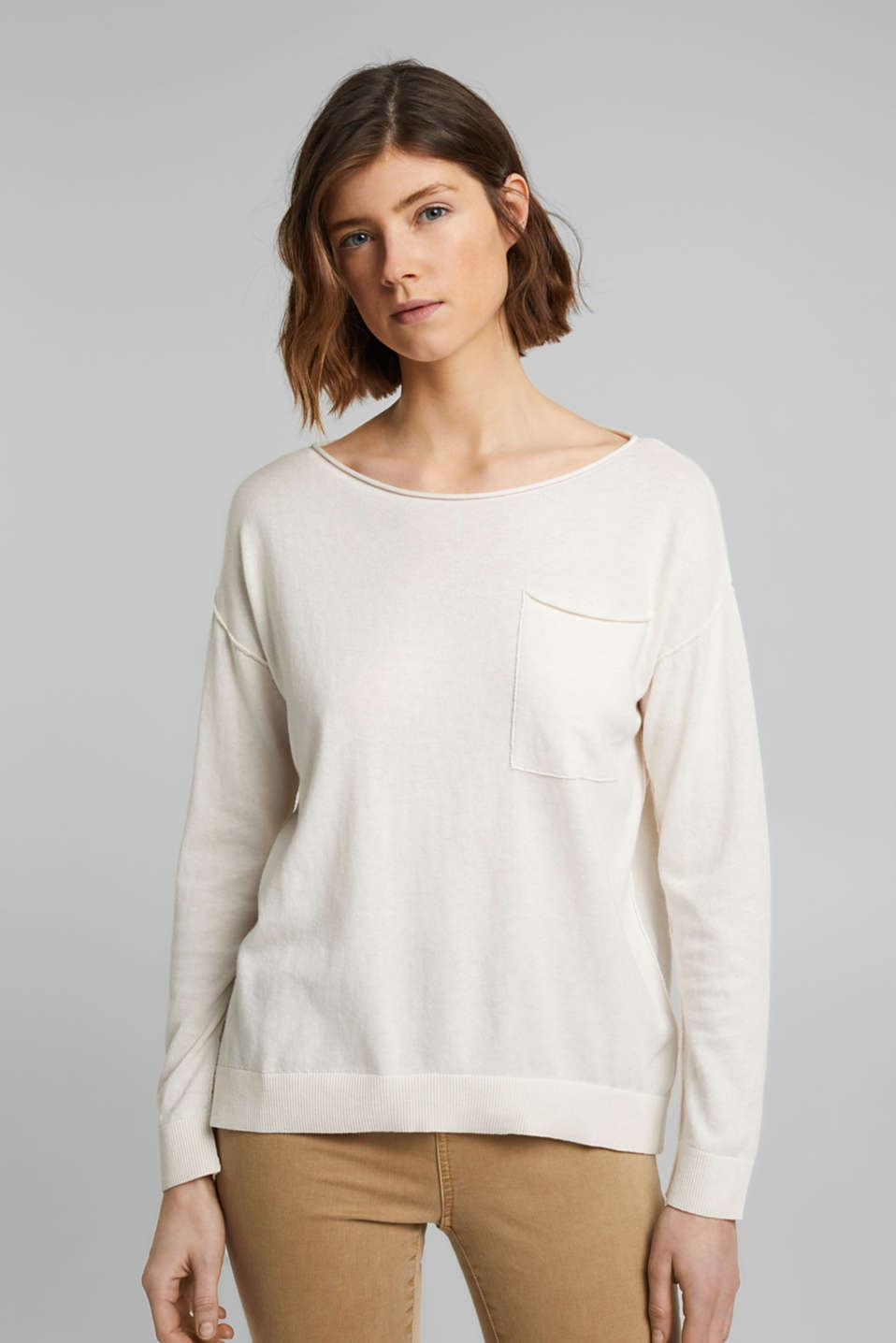 Esprit - Silk blend: jumper with a breast pocket