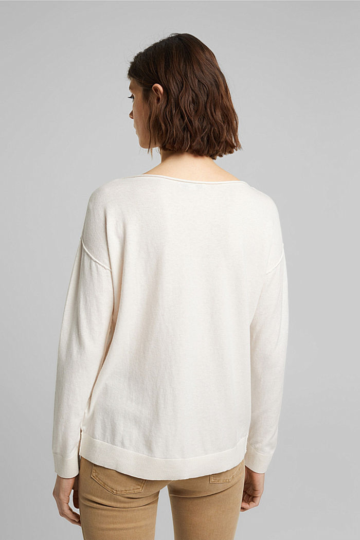 Silk blend: jumper with a breast pocket, OFF WHITE, detail image number 3