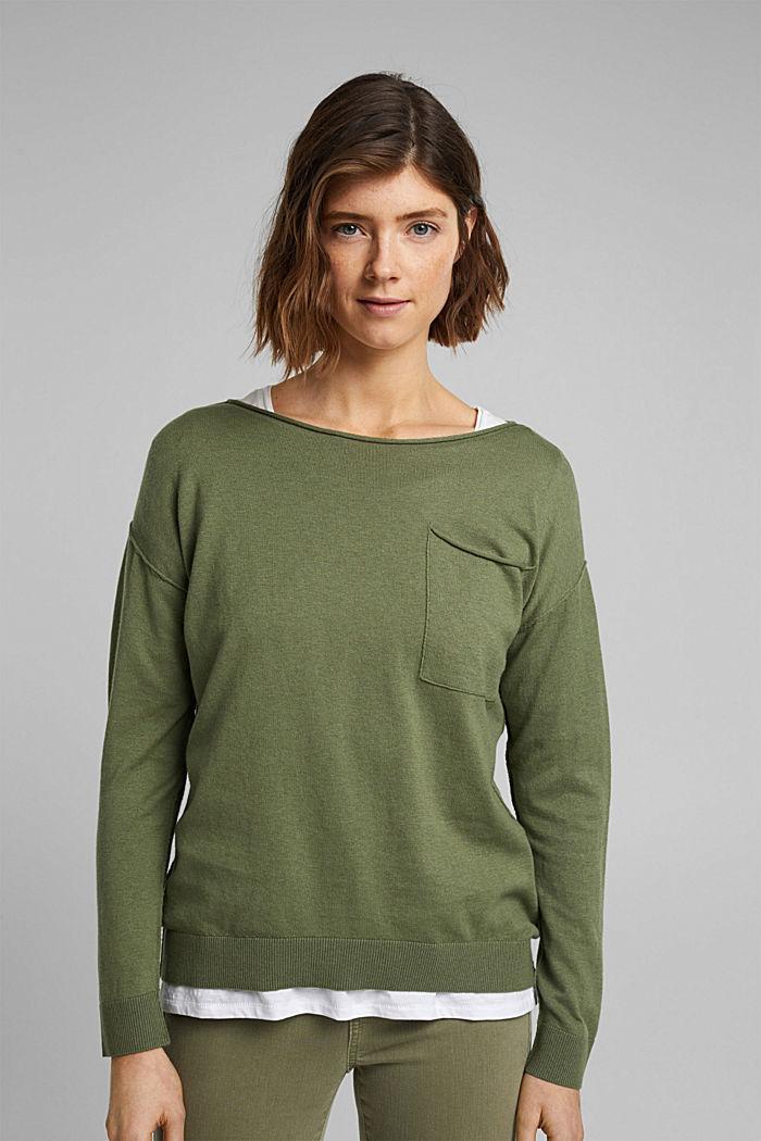 Silk blend: jumper with a breast pocket, LIGHT KHAKI, detail image number 0