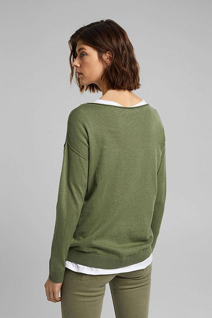 Silk blend: jumper with a breast pocket, LIGHT KHAKI, detail image number 3