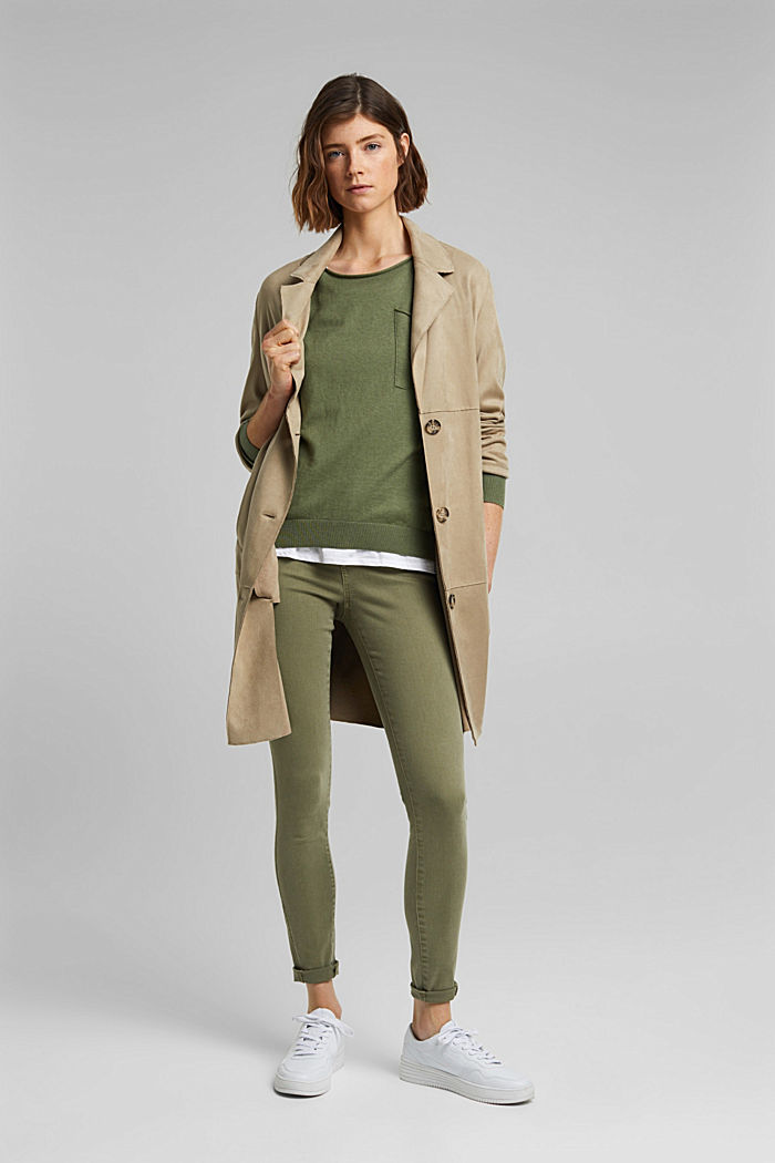 Silk blend: jumper with a breast pocket, LIGHT KHAKI, detail image number 1
