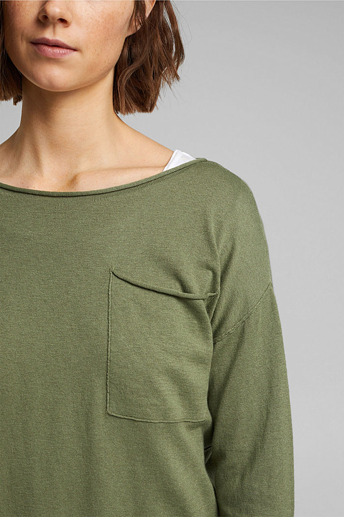 Silk blend: jumper with a breast pocket, LIGHT KHAKI, detail image number 2