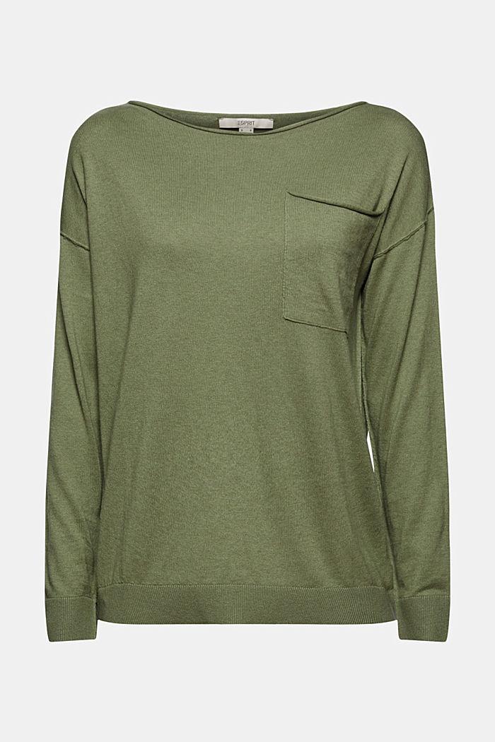 Silk blend: jumper with a breast pocket, LIGHT KHAKI, detail image number 5