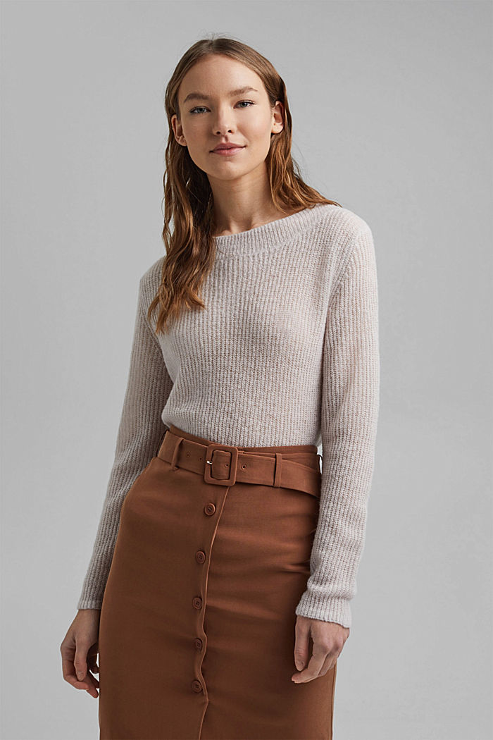 Wool and alpaca blend: ribbed knit jumper, SAND, detail image number 0