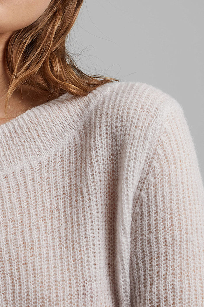 Wool and alpaca blend: ribbed knit jumper, SAND, detail image number 2
