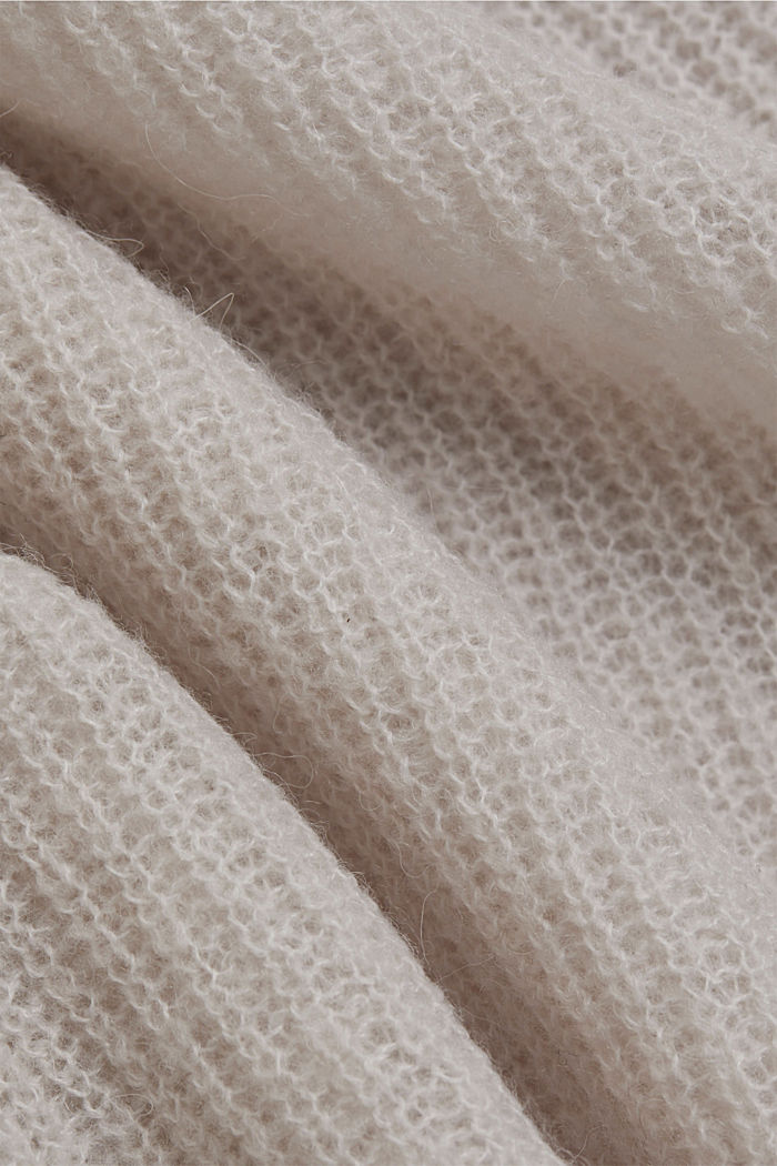 Wool and alpaca blend: ribbed knit jumper, SAND, detail image number 4