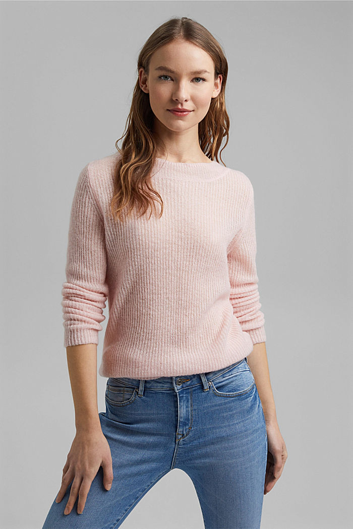 Wool and alpaca blend: ribbed knit jumper, NUDE, detail image number 0