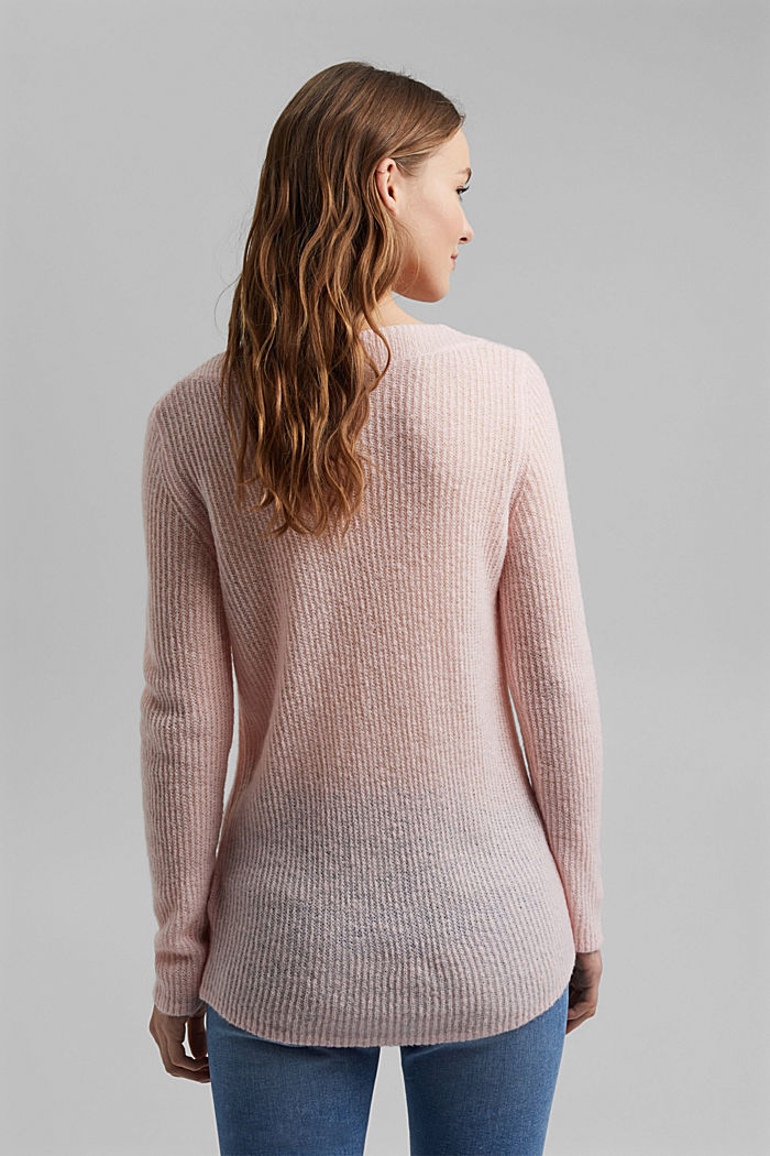 Wool and alpaca blend: ribbed knit jumper, NUDE, detail image number 3