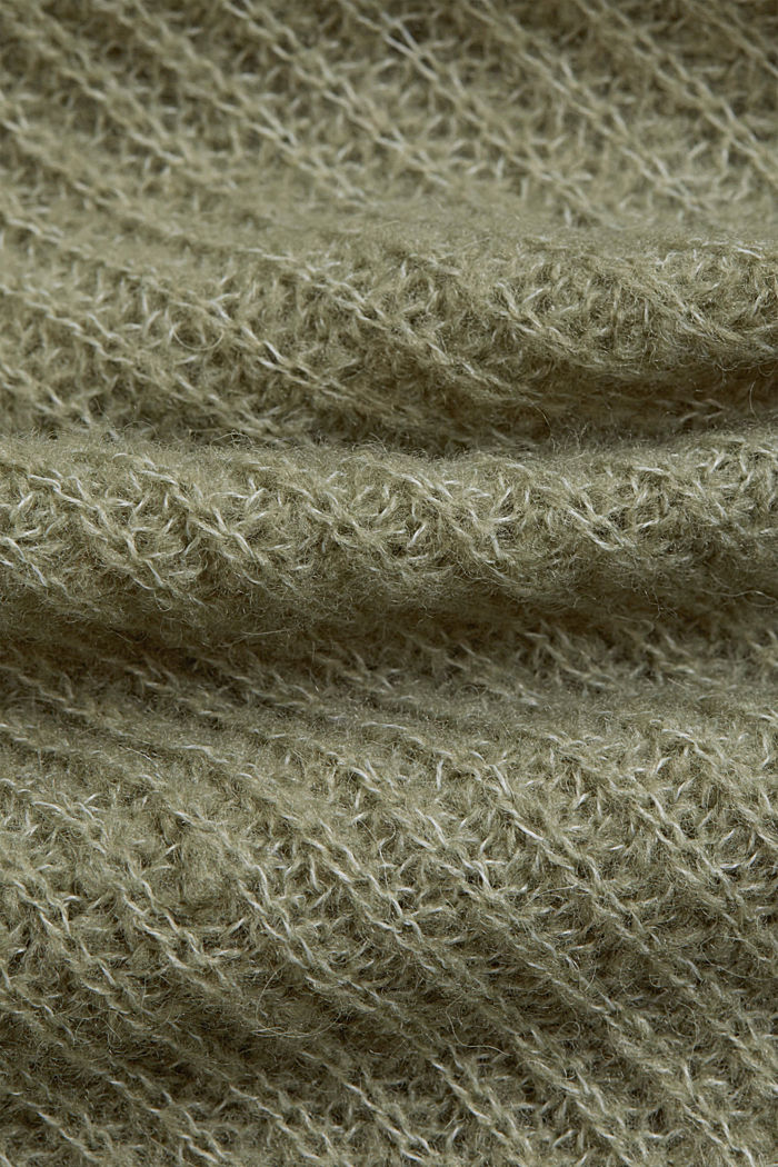 Wool/alpaca blend: wrap cardigan, LIGHT KHAKI, detail image number 3