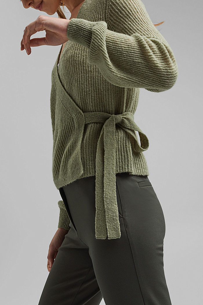 Wool/alpaca blend: wrap cardigan, LIGHT KHAKI, detail image number 4