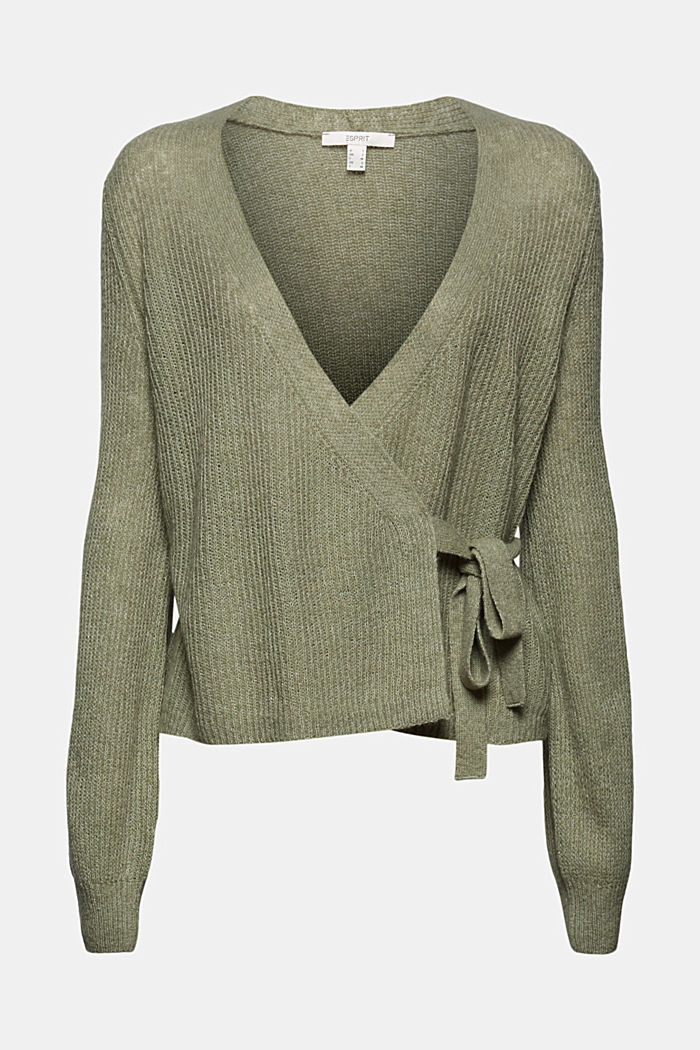 Wool/alpaca blend: wrap cardigan, LIGHT KHAKI, detail image number 8