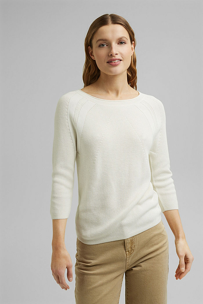 With hemp: Jumper made of LENZING™ ECOVERO™, OFF WHITE, detail image number 0