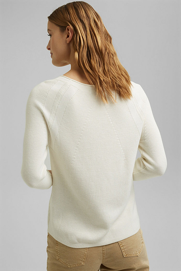 With hemp: Jumper made of LENZING™ ECOVERO™, OFF WHITE, detail image number 3