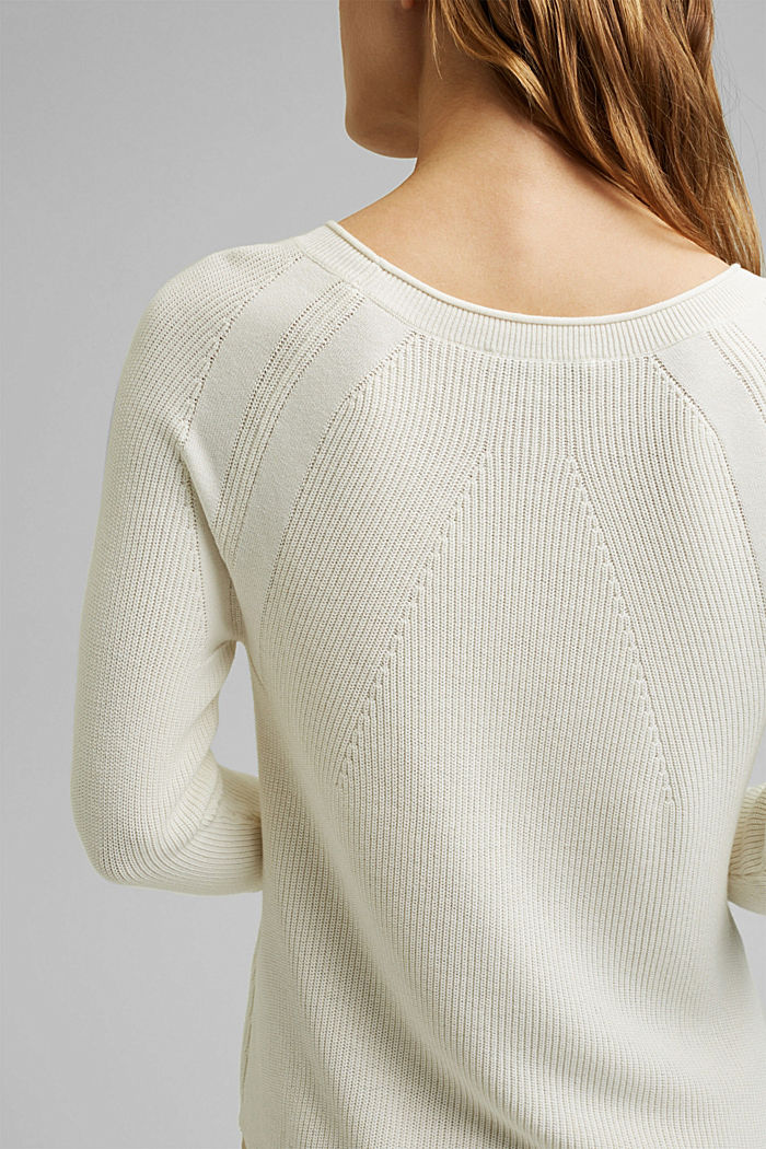 With hemp: Jumper made of LENZING™ ECOVERO™, OFF WHITE, detail image number 2