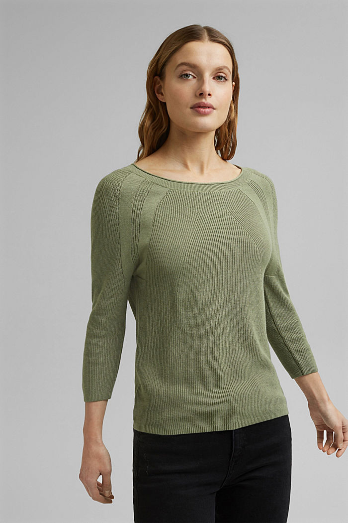 With hemp: Jumper made of LENZING™ ECOVERO™, LIGHT KHAKI, detail image number 0