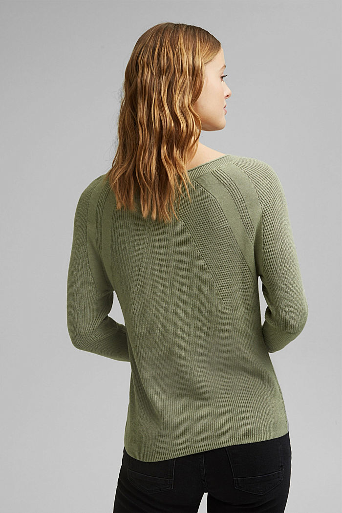 With hemp: Jumper made of LENZING™ ECOVERO™, LIGHT KHAKI, detail image number 3