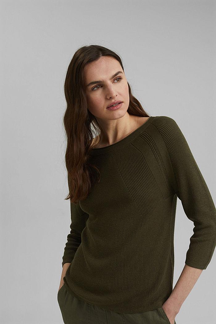 Mit Hanf: Pullover aus LENZING™ ECOVERO™, KHAKI GREEN, detail image number 0