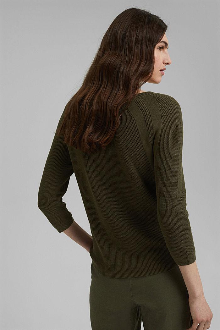 Mit Hanf: Pullover aus LENZING™ ECOVERO™, KHAKI GREEN, detail image number 3