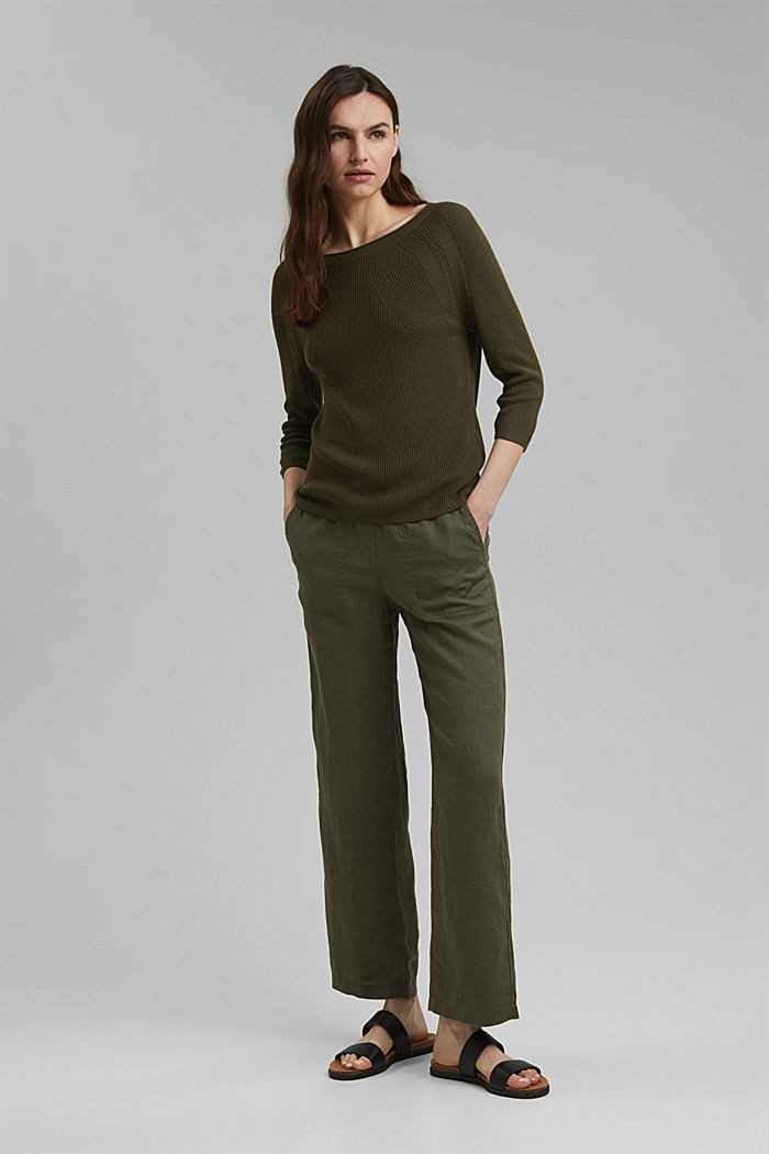 Mit Hanf: Pullover aus LENZING™ ECOVERO™, KHAKI GREEN, detail image number 1