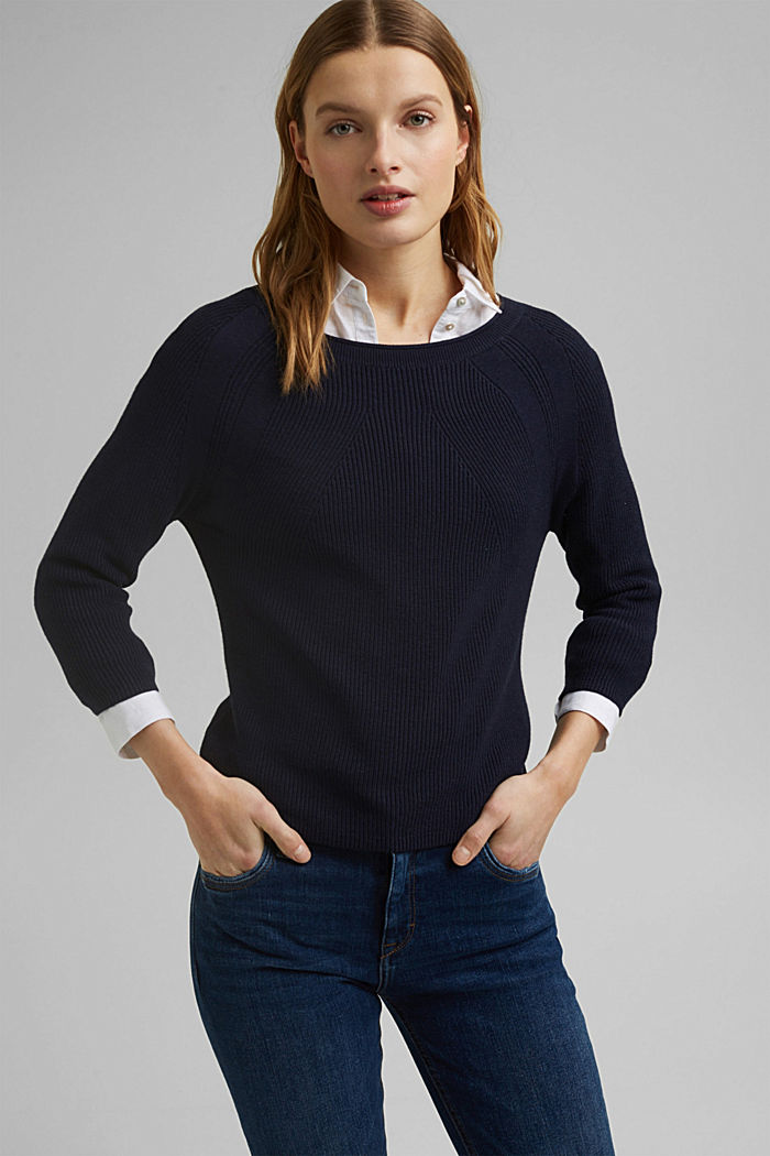 With hemp: Jumper made of LENZING™ ECOVERO™, NAVY, detail image number 0