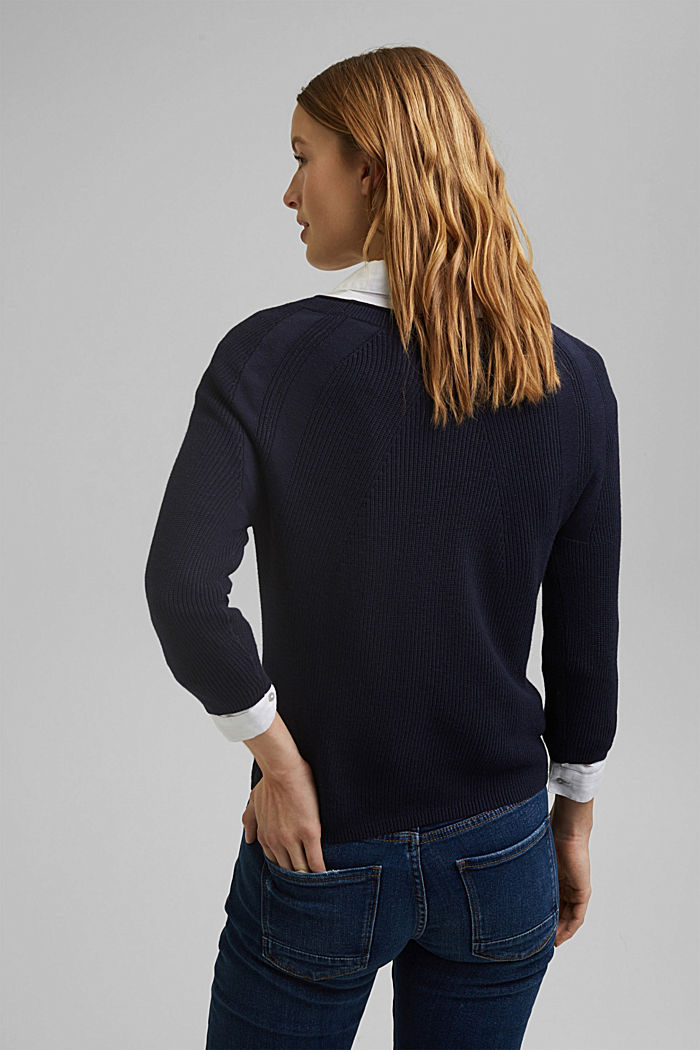 With hemp: Jumper made of LENZING™ ECOVERO™, NAVY, detail image number 3