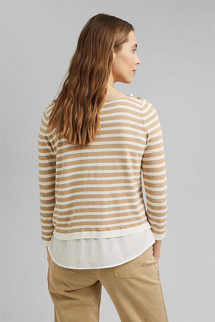 Hemp/LENZING™ ECOVERO™ blend: layered jumper, SAND, detail image number 3